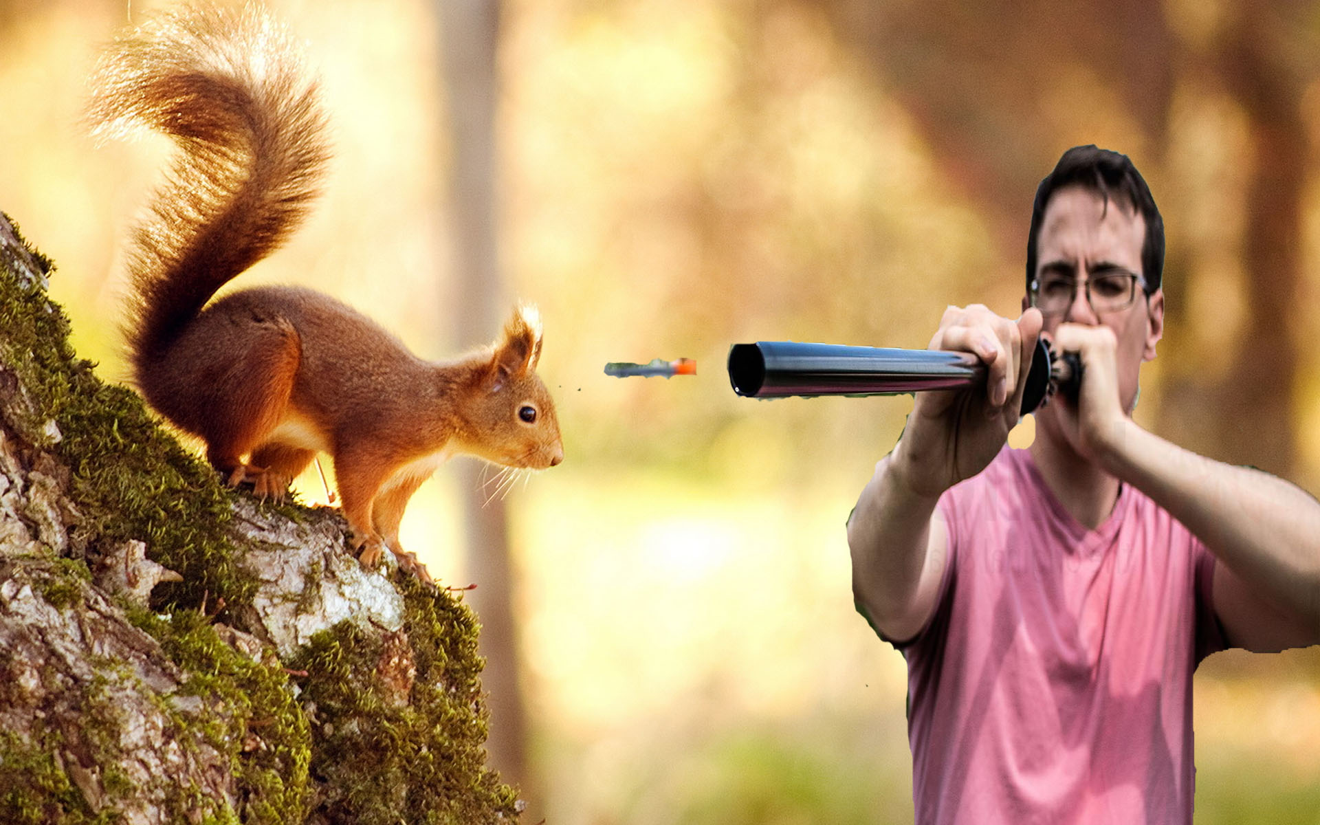hunting a squirrel with a blowgun