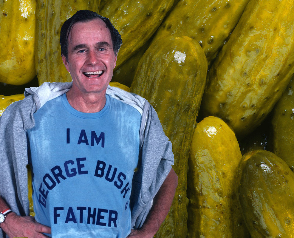 daddy bush George Herbert Walker Bush and a batch of pickles